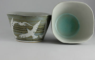 Hand Thrown & Hand Decorated Square Sugar Bowl By Tregear Pottery - Seagull