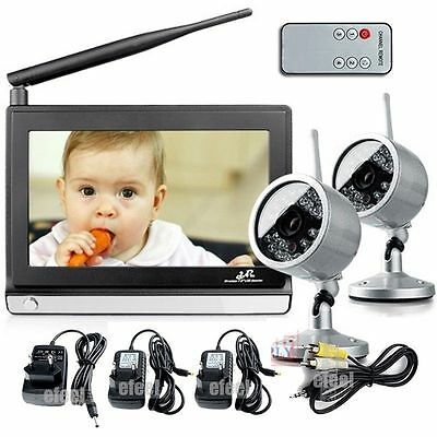 7 TFT LCD wireless Night Day video baby care monitor receiver with 2pcs Camera