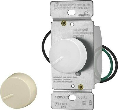 Non-Preset Rotary Dimmer W/Ivo,No RI061-VW-K2,  Cooper Wiring Devices Inc