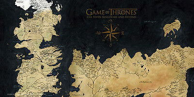 Poster In Vetro Game Of Thrones 25X50 Cm Map Of Mappa Di Westeros On Glass Tv #1