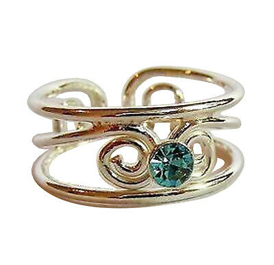 Sterling Silver (925) Adjustable  Bright Blue Jewel Stone Toe  Ring !!    New !!