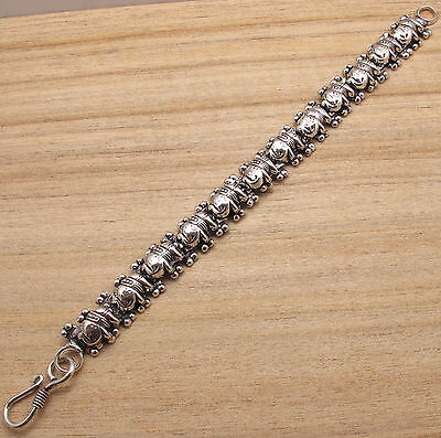 "BRACELET 7 3/4"" ! ELEPHANT CHARMS CLASSIC ART JEWELRY ! 925 Silver Plated"