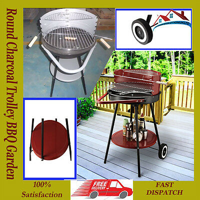 NEW BBQ Charcoal Trolley Garden Round Outdoor Barbecue Cooking Grill with Wheels