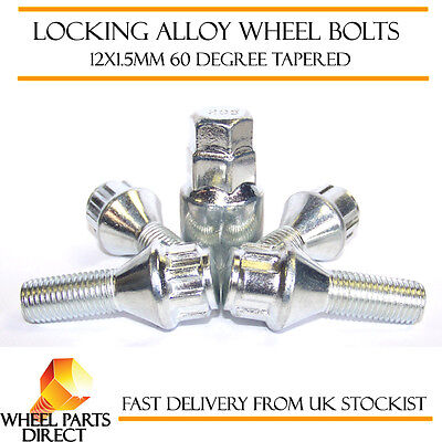 Locking Wheel Bolts 12x1.5 Nuts Tapered for VW Polo [Mk2] 81-94