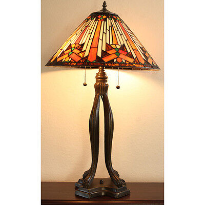 "Tiffany Style Mesa Table Lamp Stained Glass 18"" Shade"