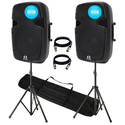 V3 RS15A 3200W IPP Active DJ PA Club 15 Inch Speaker Stereo Package With Stands
