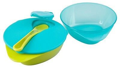 Tommee Tippee Explora 2 x Easy Scoop Feeding Bowls with Lid and Spoon Blue