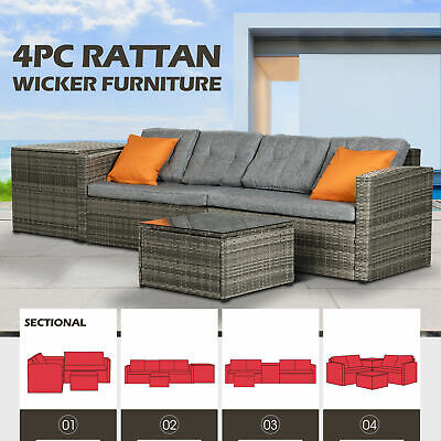 3PCS Rattan Wicker Furniture Table & Chair Set Cushioned Patio Outdoor Garden