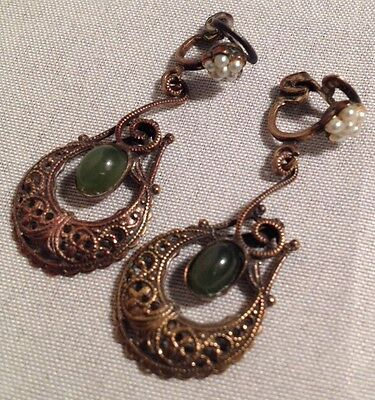 Antique Jade and Seed Pearl Dangle Filligree Earrings