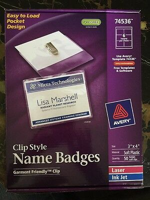 avery clip name badges print or write 3 x 4 50 inserts badge