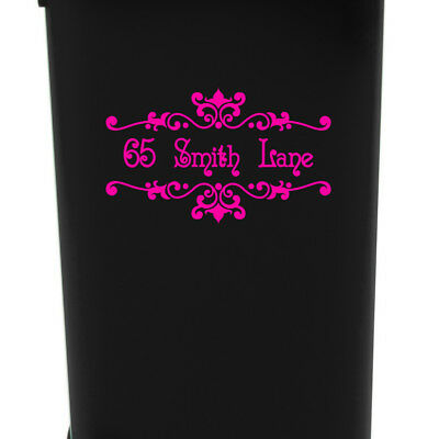 Wheelie Bin House Number & Street Name Decal Sticker Ornamental Floral Design