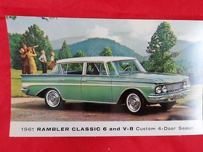 Vintage 1961 RAMBLER CLASSIC 6 and V-8 Custom 4-Door Sedan Postcard (1)