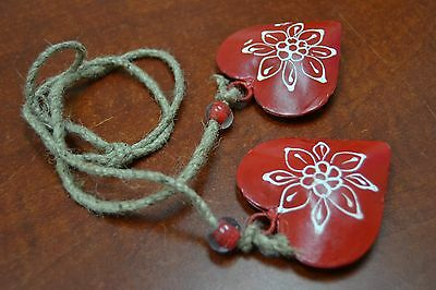 2 Pcs Red Heart Rusty Iron Metal Ornament Decoration #t-969
