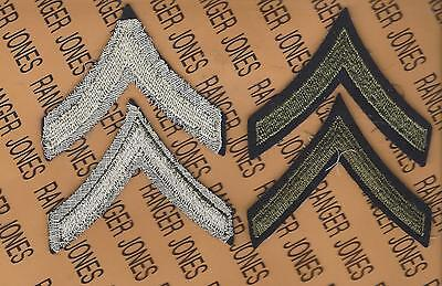 US Army WWII wool PRIVATE FIRST CLASS E-3 PFC uniform rank piece patch set lot