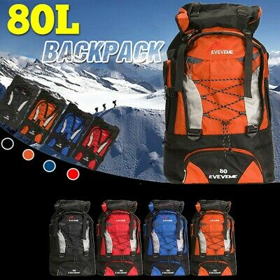 80L Waterproof Rucksack Backpack Travel Bag Luggage Camping Hiking Sport Outdoor