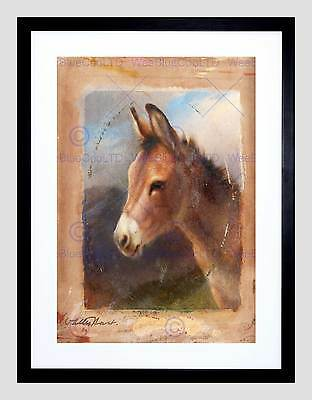 PAINTING ANIMAL PORTRAIT STUDY ISRAELS TWO DONKEYS FRAMED ART PRINT B12X3922 Kunstplakate