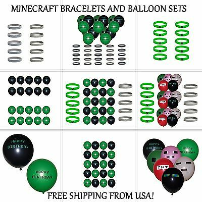 Minecraft Bracelets Creeper ~ Diamond and Happy Birthday Balloons, Party Favors