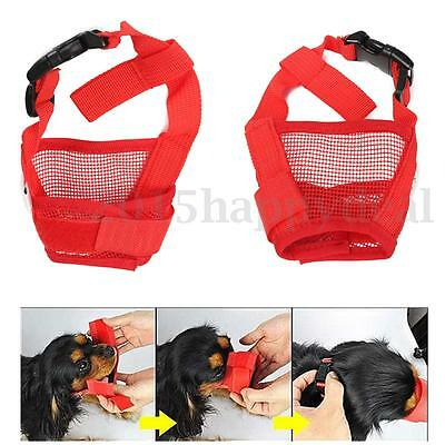 UK 5Color Safety Dog Breathable Muzzle Pet Mesh Mouth Mask Anti Chewing Barking