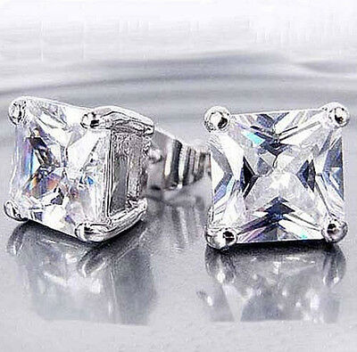 Cool 14k silver plated Flawless Clear Crystal square diamond Mens Stud Earrings