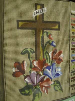 Cross With Flowers Needlepoint Canvas 6x9.25 Inches, Moyaine