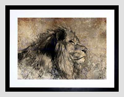 ART PRINT POSTER PAINTING DRAWING DESIGN SKETCH ANIMAL LION MALE SEPIA LFMP0666