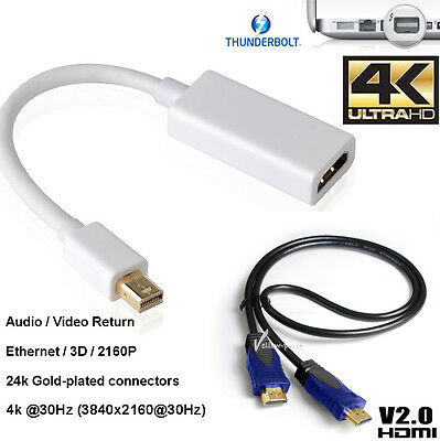 Gold Full 2160P MDP to HDMI Adapter+4k HDMI For Microsoft Surface Pro 2 3 4 Book