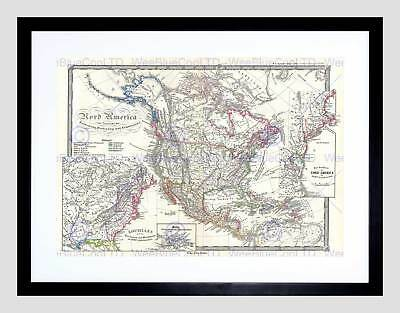 1855 Spruner Map America Discovery Conquest Colonization Framed Print B12X2200