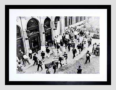 Vintage Civil Rights Protest Jim Crow Columbia University Framed Print B12X3455