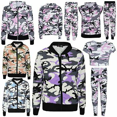 Kids Gilrs Camouflage Print Crop Top Legging Jacket Tracksuit Age 7-13 Years