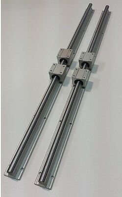 "Linear Guide Rail 43"" x 2 & Bearings Block x 4 CNC KIT Router Mill Plasma Lathe"