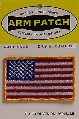 AMERICAN FLAG EMBROIDERED PATCH iron-on GOLD BORDER USA (NAH)
