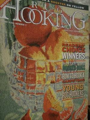 Rug Hooking Magazine J/J/A 2010 Roosters On Yellow/Carpet Bags Free Patterns/Ins