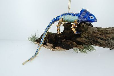 Kubla Articulated   2-tone blue Chameleon. Reptile. Lizard. Christmas gift