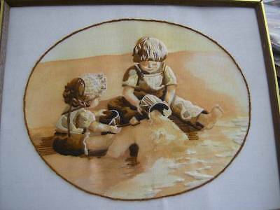 Finished Crewel Embroidery Picture Sand Castle 16.5x13.5 Inches- By Sunset, Boy