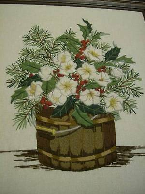 Finished Crewel Embroidery Picture White Christmas Roses & Holly In Bucket 13.5x