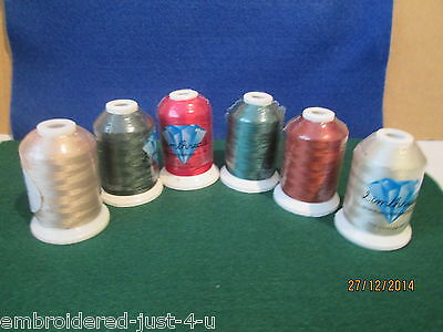 6 x 1000M REELS OF  QUALITY MACHINE EMBROIDERY THREADS - EARTHY COLOURS