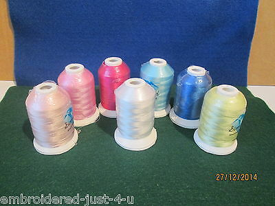 7 x 1000M REELS OF  QUALITY POLYESTER EMBROIDERY THREADS - baby shades