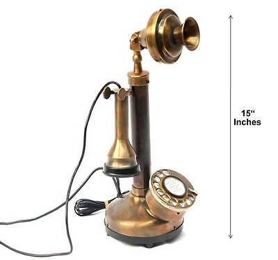 Rotary dial vintage candle stick phone brass Bakelite functional replica model