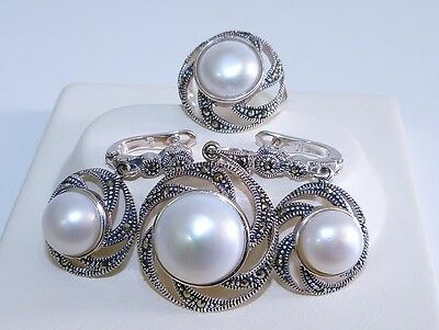 VINTAGE STYLE! Pearl & Marcasite Sterling Silver 925 Set, Pendant/Earrings/Ring