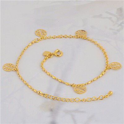 Charm 18K Yellow Gold Plated Womens Link Anklet Bracelet Fashion Jewelry