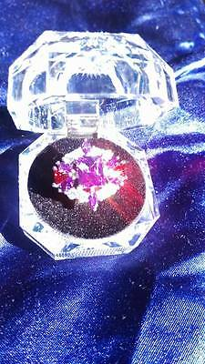 "Purple and Red Emerald Cut Amethyst White Topaz Gemstone Silver  ""FASHION"" Ring"