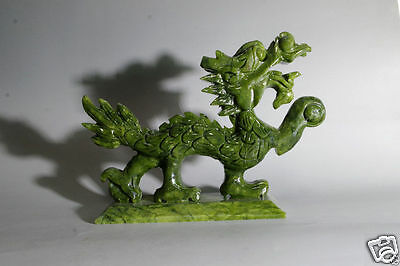Green natural jade Chinese hand-carved Dragon statue good luck