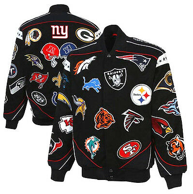 Nfl National Football League Official Collage Twill Jacket Nfc Afc Brand New!