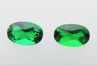 Emerald Synthetic 5mm x 3mm Oval Lab Created Loose Gemstone Pack of 2