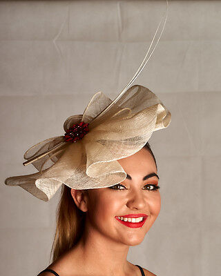Stunning Ivory Fascinator - Diamantes /Pink Roses/ Quills - Quality & Style A014