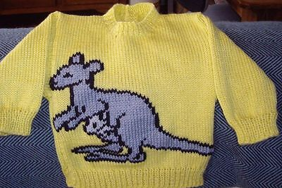 Kangaroo.. Size 1.. New Hand Knitted Button Opening In Back