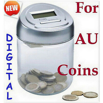 AU STOCK!!! Digital money coin jar counting saving bank gift for Only AU Coins
