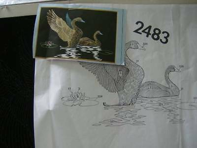 Tri-Chem Swans Liquid Embroidery Picture #2483- 12x18 Inches