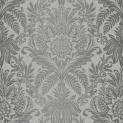 Crown Signature French Damask Grey Metallic  Feature Designer Wallpaper M1067