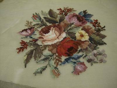 Corticelli Red & Pink Roses Bouquet Pre-Worked Design Needlepoint Canvas 11.